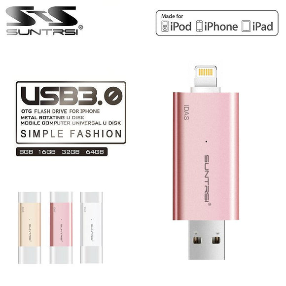 Suntrsi Pen Drive USB 3.0 Flash Drive 64gb 128gb 32gb for Iphone/ ipod/Ipad Pendrive For IOS PC USB Flash Drive OTG Pen Drive