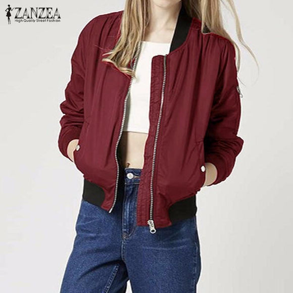 Winter Autumn 2016 ZANZEA Coat Women Vintage Stand Collar Long Sleeve Slim Jackets Casual Bomber Coats Plus Size Outerwear