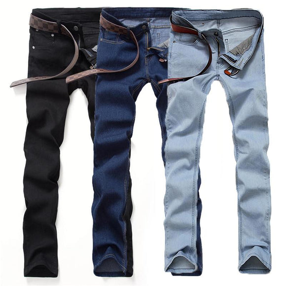 Autumn hot new mens black jeans men Korean Slim pants feet tide adolescent male casual long pants solid color big yards trousers