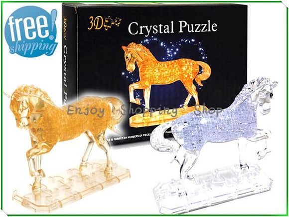 Horse puzzle 3d jigsaw crystal 2 color model building kids learning&educational toys for children brinquedos educativos