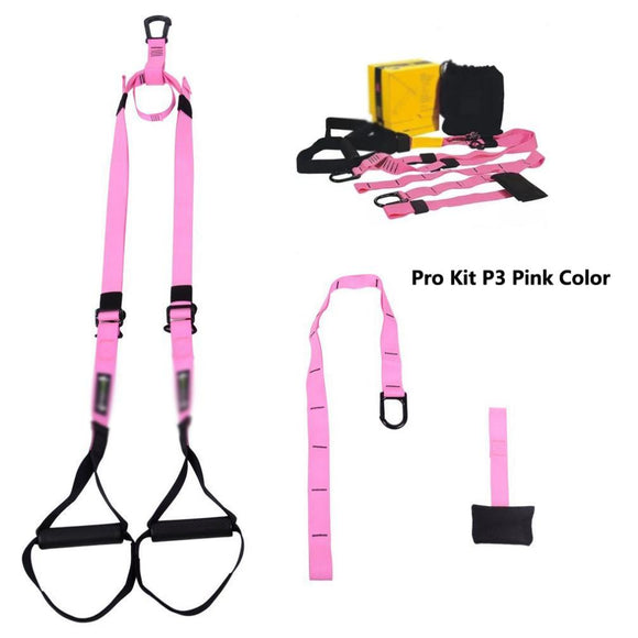 Military Grade Suspension Straps Total Body Workout Trainer Pink Color,Resistance Bands Chin-up/Pull-up/Sit-Up