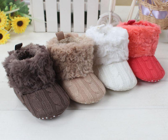 Baby Snow Boots Babe Boys Girls Warm Shoes Toddlers Winter Soft Plush Lining Knitting Footwear Gift Free Drop Shipping Wholesale