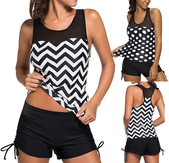 Sexy Women Swimwear Plus Size Vintage Two Piece Swimsuit Tankini Geometric Print Mesh Patchwork Tankini With Short Sport S~3XL