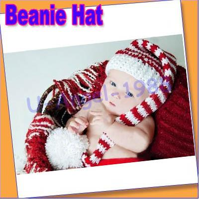 1pcs Cute Baby Crochet Knit Christmas Beanie Hat Girl Boy Photography NEW +Free shipping