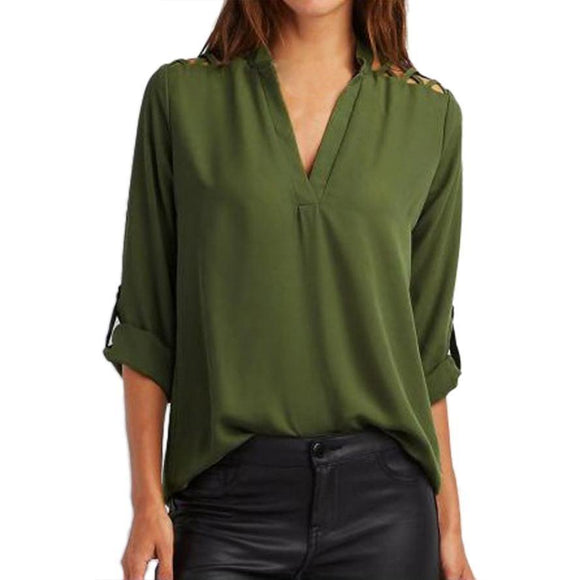 Women Chiffon Blouse Fashion Tab-Sleeve Hollow Out Bandage Blouse Shirt Solid Half Sleeve Tops Clothes Party Club Shirts Blusa