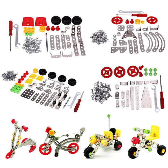 3D Alloy DIY Toys for Children Kids Model Cars Motorcycle Tricycle Assembling Educational Toy Kids Plastic Blocks