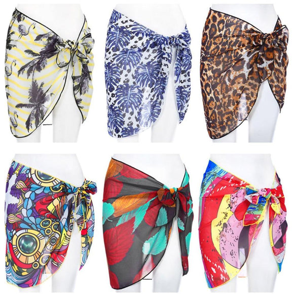 Sexy Hot Swimwear Women Beach Skirt Chiffon Bikini Cover Up Print Beachwear Sarong Short Swimsuit Bathing Suit Swim Wrap Skirt