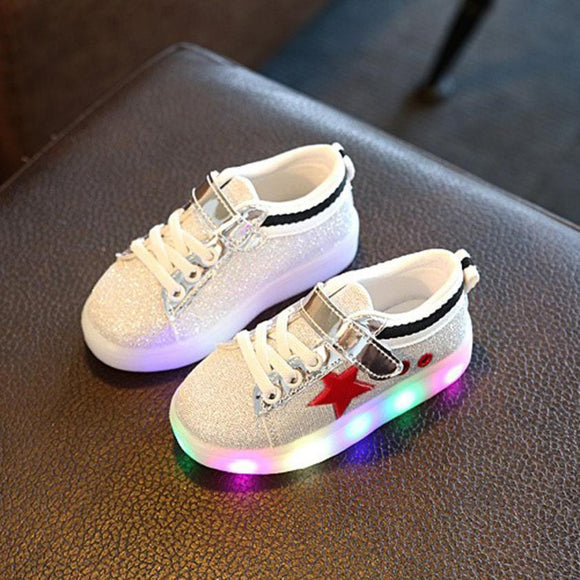 Baby Kids Sneakers LED Luminous Star Child Toddler Casual Colorful Light Shoes drop shipping