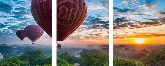 3 piece Large Frameless DIY Picture On Wall Acrylic Painting By Numbers Landscape Home Decor Coloring by Numbers balloon Sunset