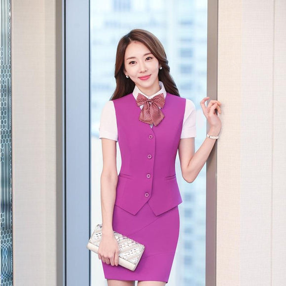 72c6852d9ad New Fashion Elegant Purple Slim Fit Blazers Suits With Vest And Skirt For  Ladies Office Work
