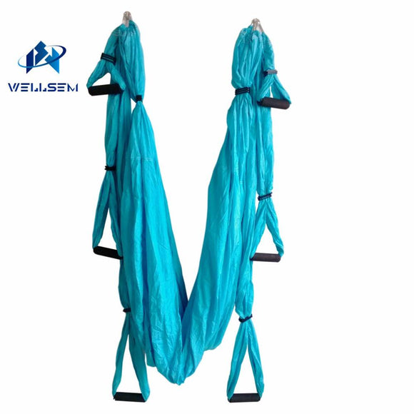 Home gym Aerial Yoga Hammock  pilates band workout Yoga Inversion Swing Trapeze Anti-Gravity Belt Tool Fitness 6 handle 4 hooks