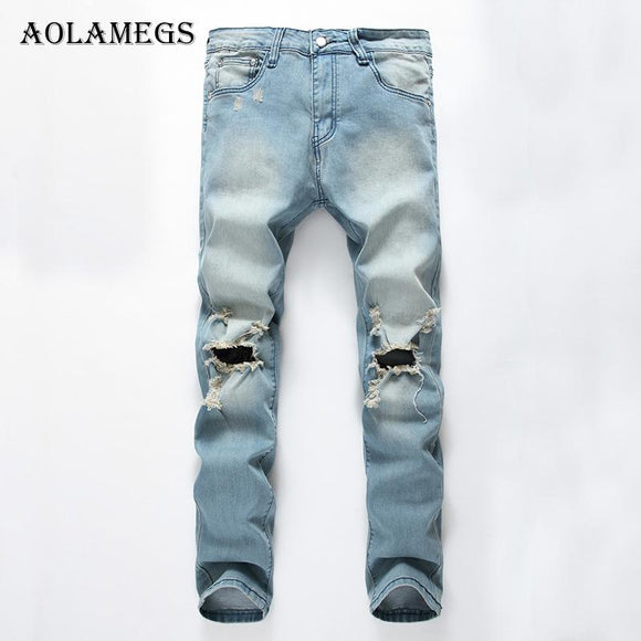 Aolamegs Mens Jeans tide explosion section hole Stretch Denim blue black Men's Straight Jean Pants fashion Relax Loose Fit Jeans