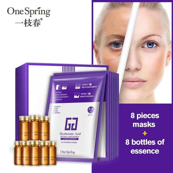 Hyaluronic Acid Face Mask+Essence Anti-aging Wrinkle Repair Liquid Serum Whitening Moisturizing Peel Off Mask Sheet Skin Care