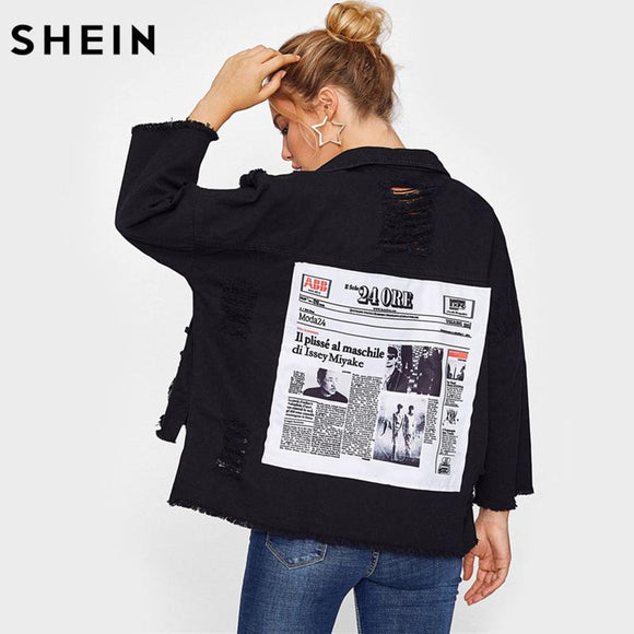 SHEIN Drop Shoulder Patch Back Distressed Jacket Casual Autumn Jacket Coat Women Black Lapel Single Breasted Jackets