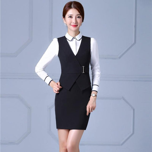 ff468ad4d69 Plus Size 4XL Formal OL Styles Professional Business Suits With Dresses And  Blouse For Ladies Office