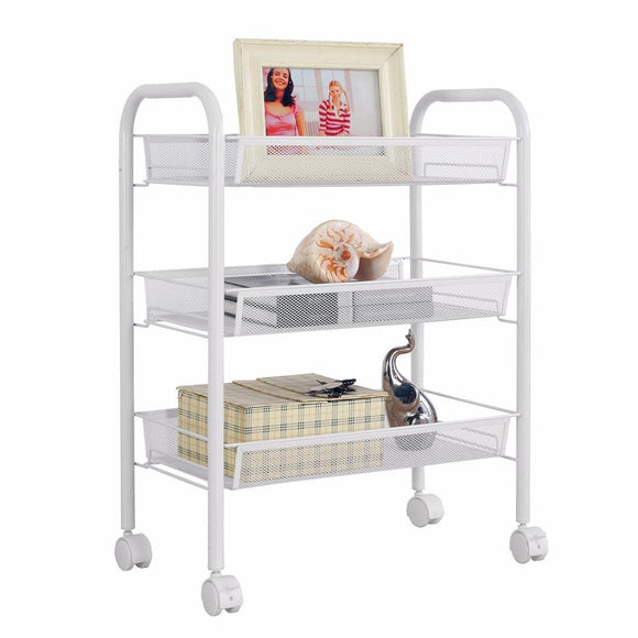 HLC 3-Tier Classical Mesh Basket Storage Rack Shelving Unit, White