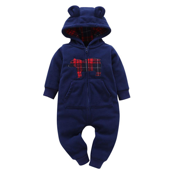 2017 Autumn Hoodies Rompers Baby Boy Girl Fleece Romper Winter Thick Jumpsuit Roupa Infantil Printed Pattern Jumpsuits Clothes