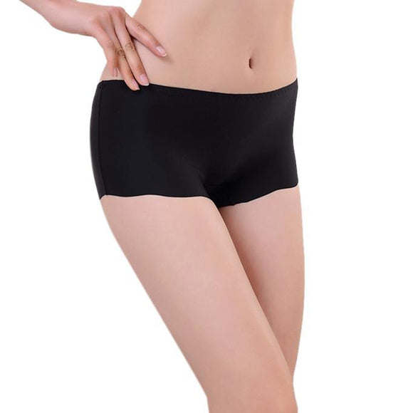 Women Invisible Underwear Underpants Boxer Briefs Spandex Seamless Crotch BK