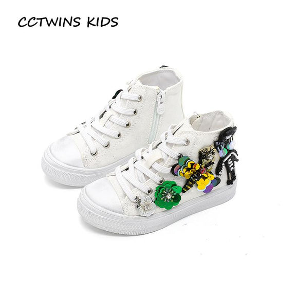 CCTWINS KIDS 2017 Kid Sport Baby Girl Canvas Breathable Sequin Sneaker Toddler Fashion White Shoe Children Glitter Trainer F1817