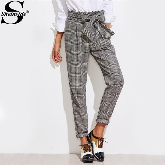 Sheinside Frill Belted Bow Waist Plaid Pants 2017 Mid Waist Long Straight Trouser With Zipper Fly Women Elegant Work Pants