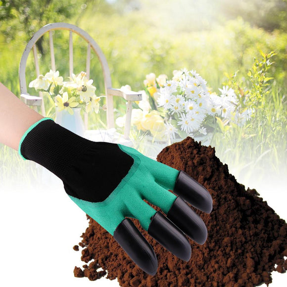 1 Pair Waterproof Gardening Gloves with Claws for Digging Planting(4pcs Claws for Right Hand only)