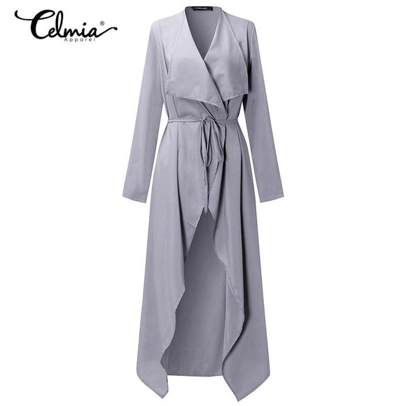 Women Long Sleeve Open Front Thin Waterfall Long Cardigan Duster Coat Jacket Autumn Spring Outwear With Waistband Plus Size 3XL