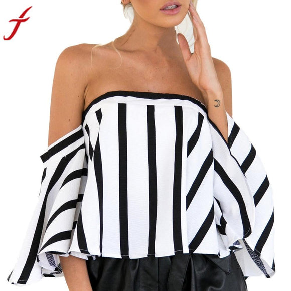 Women Ladies Striped Casual Off the Shoulder Short Sleeve Crop Top Shirt Top Plus Size Long Sleeve Fashion Blouses Blusas
