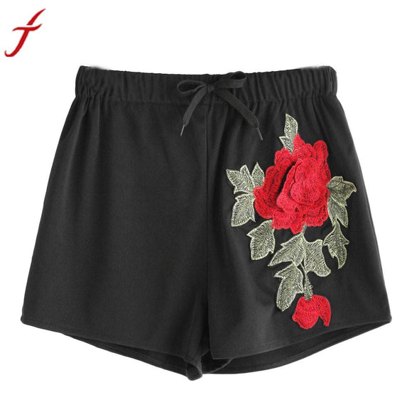 Sexy Appliques Women Short Pants Summer Floral Embroidery Casual Slim High Waist Soft Cotton short feminino