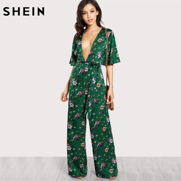 424736597c87 SHEIN Sexy Jumpsuits for Women Bell Sleeve Plunge Neck Self Belted Palazzo  Jumpsuit Multicolor Half Sleeve
