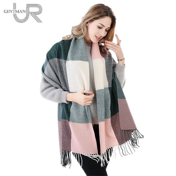 New Fashion 60cm*200cm Winter Scarf For Women High Quality Warm Big Long Scarf Female Luxury Plaid Cashmere Thick Scarves
