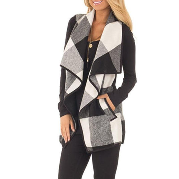 Stylish Autumn Office Ladies Vest Sleeveless Turn Down Neck Open Front Jacket Check Plaid Cardigan Leisure Casual Long Waistcoat