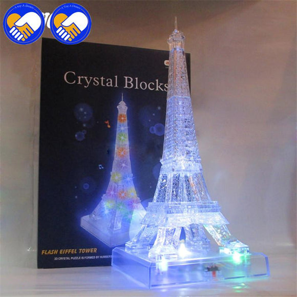 A TOY A DREAM France Construction Eiffel Tower 3D Crystal Puzzle Model With Music/Light DIY Toys Xmas Best gifts Jigsaw Toys
