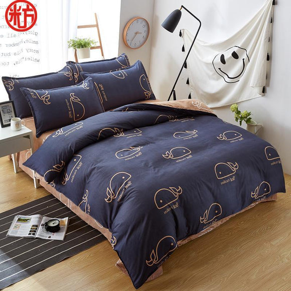 2018 new sheet, pillwocase& duvet cover set WHALE bedding set pinetree bed set black white bed linen set wholesale home bedding