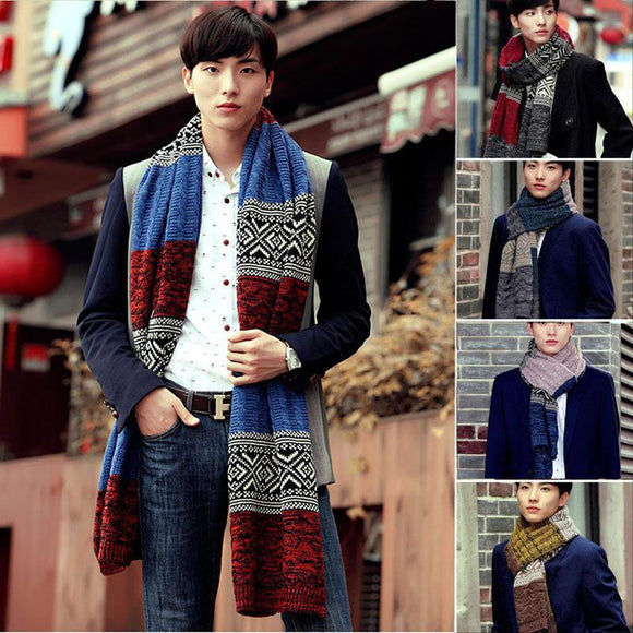 Winter Men's Fashion Casual Shawl Wrap Muffler Scarf Assorted Color Scarves Warm