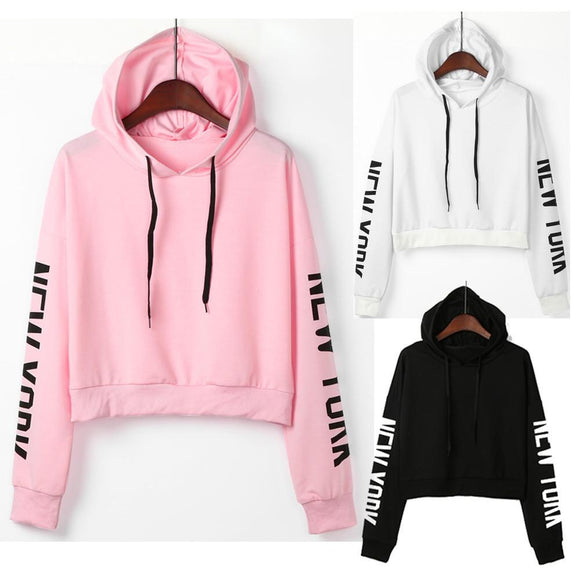 9dfa184980 Womens Letters Long Sleeve Hoodie Sweatshirt Pullover Tops Blouse