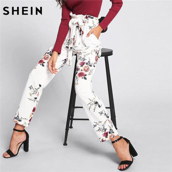 SHEIN Trousers Women 2018 Spring High Waist Pants White Pocket Elastic Waist Self Belted Frill Detail Floral Pants