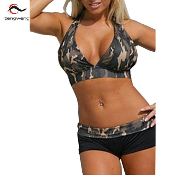 tengweng 2018 New Sexy Deep V Neck Camouflage Plus size Short Bikini Set Army Halter Women Swimwear Female Bathing suit Swimsuit