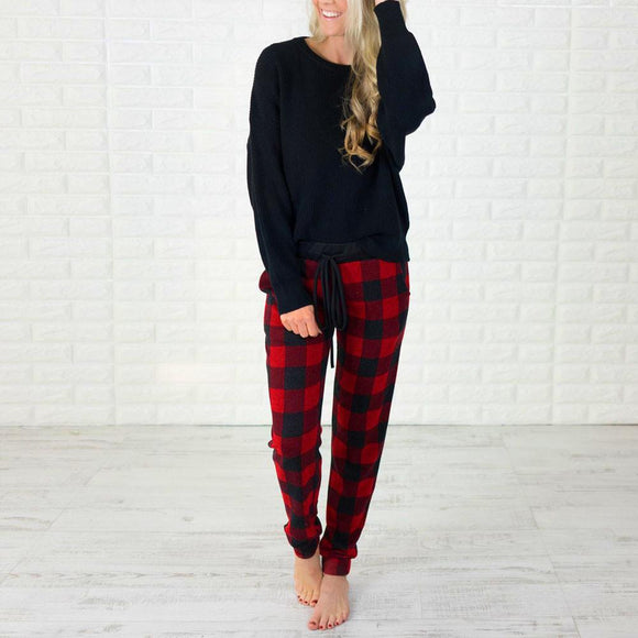 Women Pencil Casual Plaid Skinny Pants High Waist Trousers Party Pants