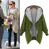 Womens Zipper Hoodie Kapuzen Jacket Loose Parka Trench Coat Windbreaker