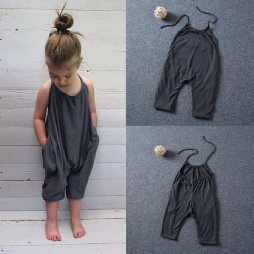2017 Fashion Kids Baby Girls Strap Cotton Romper Jumpsuit Harem Trousers Summer Clothes