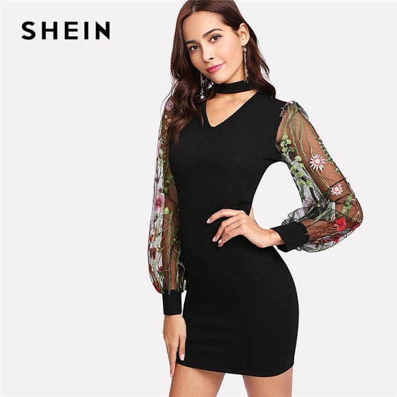 SHEIN Woman Bishop Sleeve Elegant Party Dresses 2018 Spring Autumn Floral Bodycon DressChoker Neck Embroidered Mesh Sleeve Dress