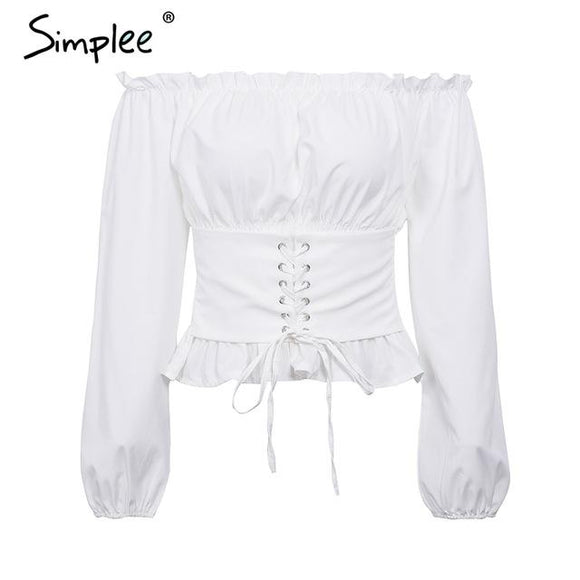 Simplee Off shoulder lace up sexy blouse shirt Women ruffle long sleeve blouse tops 2018 Vintage summer white blouse feminine