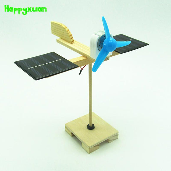 Happyxuan DIY Solar Fan Model Building Material Kits Hybrid Drive Science Experiment Discovery Toys Creative Educational
