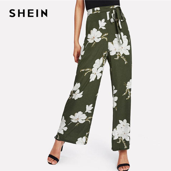 1715428344 SHEIN Flower Print Wide Leg Pants Green High Waist Belted Women Loose  Trousers 2018 Spring Elastic