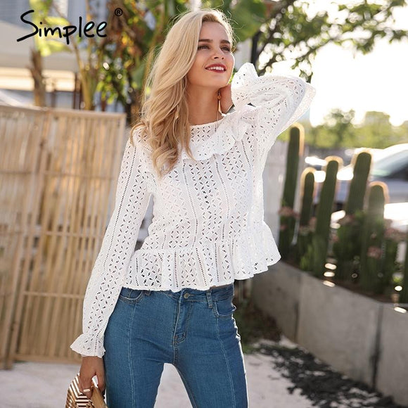 Simplee Hollow out long sleeve white blouse shirt 2018 Spring sexy female blouse women top Elegant backless button blusas