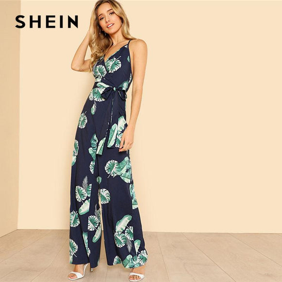 29cccf6983 SHEIN Tropical Print Wide Leg Cami Jumpsuit 2018 Women V Neck Spaghetti  Strap Sleeveless High Waist
