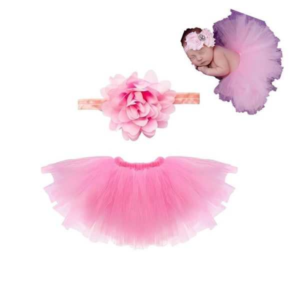 0-12month Cute Infants Toddlers Girls Newborn Party Dancewear Ballet skirts Kids Costumes Baby Photography Props Headband with Skirt Set