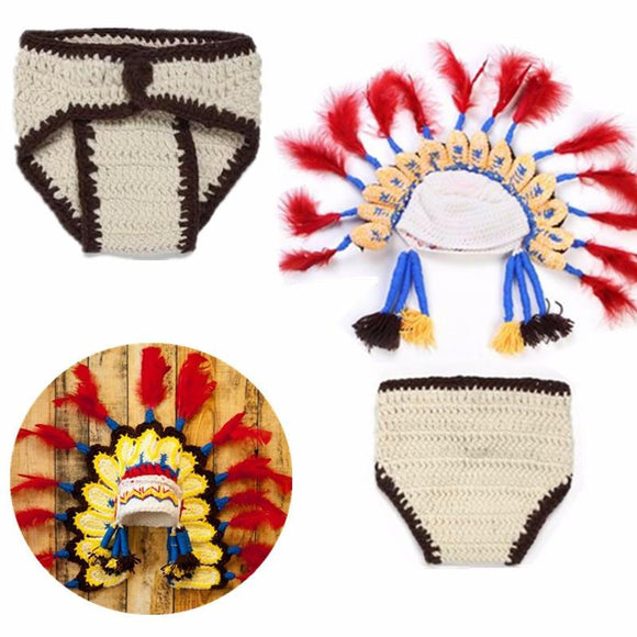 .0-6 Months Lovely Infant Cosplay Indian Chief Hat Knitted Photography Custume Baby Suit Diaper Cover