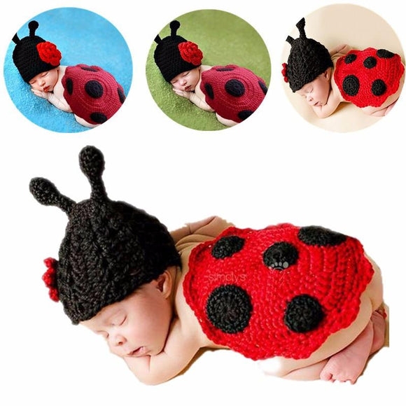 0-6Months Cartoon 3D Winter Newborn Ladybug Shape Lovely Knitted Baby Suit Crochet Clothing Photography Custume Cloak