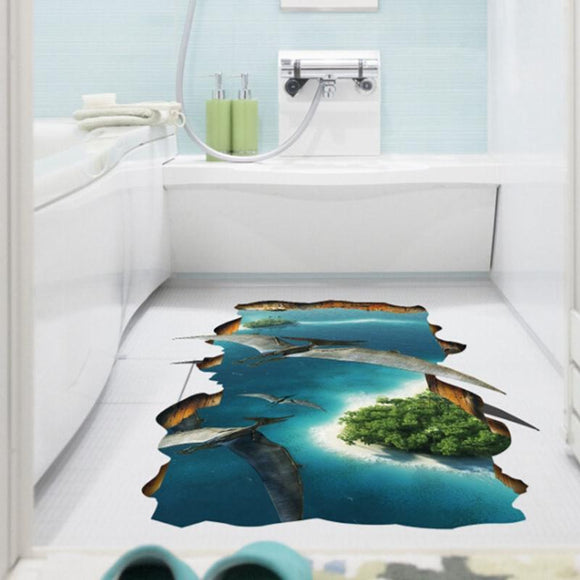 Creative Dinosaur Pterosaur 3D Animal World Wall Stickers Living Room Bathroom Floor Stickers Home Decor Mural Decal waterproof
